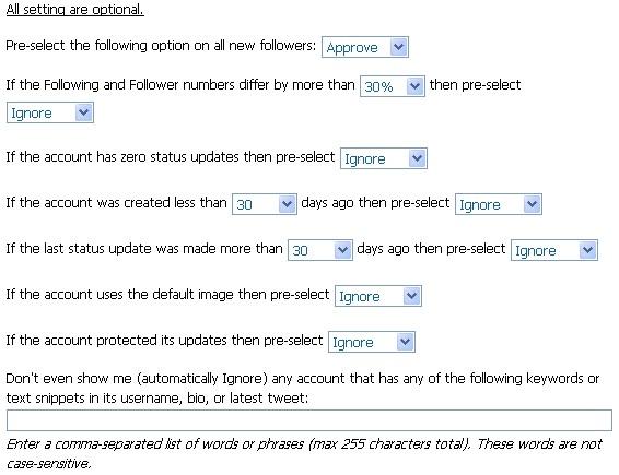 SocialOomph Vet Twitter Followers Options