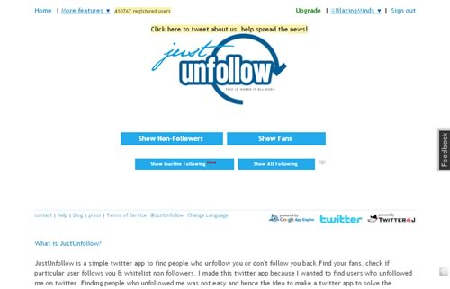 JustUnFollow - Unfollow Inactive Twitter Users