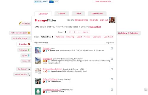 ManageFlitter - Unfollow Inactive Twitter Users