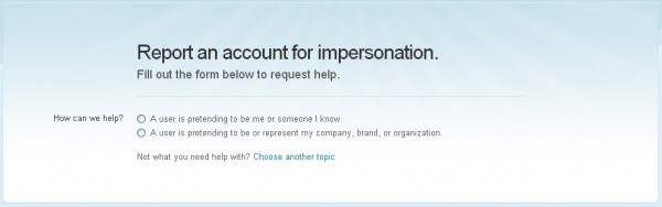 Report Twitter Impersonation 2