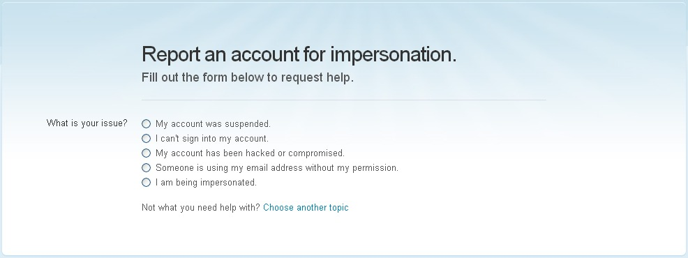 Report Twitter Impersonation