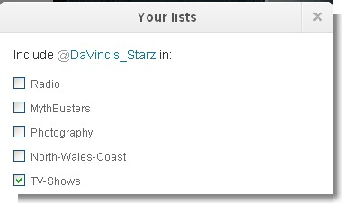 Twitter Lists Selection