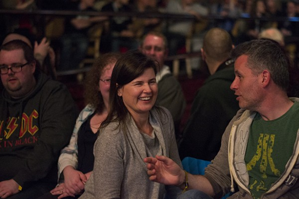 Sophie Aldred laughs with Audience Member at SFW6 (Photo ©2015 Karen Woodham)
