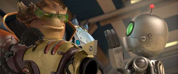 Brax points at Clank with his Gun. Ratchet and Clank the Movie
