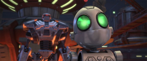 Clank on Warbot conveyer belt. Ratchet & Clank the Movie