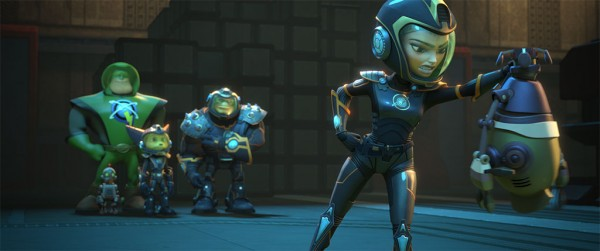 Cora hold's zed upside down and other rangers in background. Ratchet & Clank the Movie
