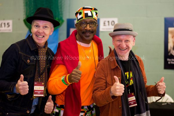 Mr Motivator and Trev & Simon pose for Blazing Minds