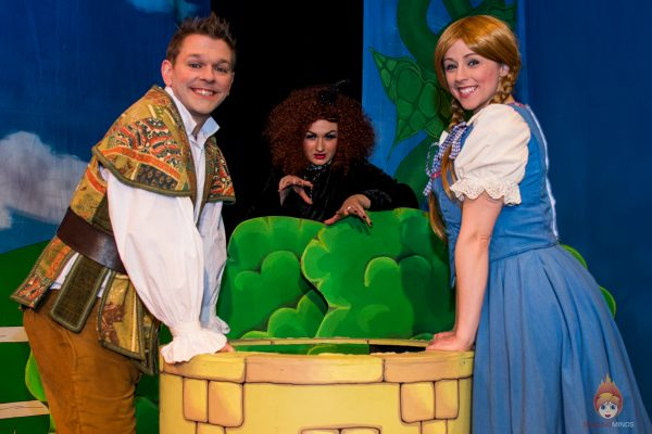 Steve Bloor (Jack Trott), Libby Edwards (Grizabella the Witch) and Laura Coard (Jill) - Jack and the Beanstalk, Theatr Colwyn