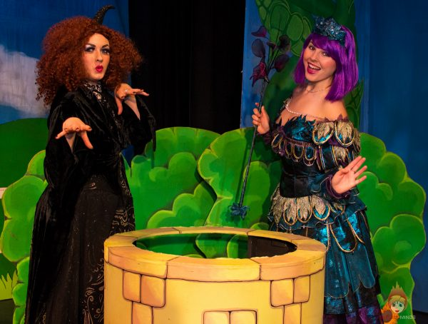 Grizabella (Libby Edward) and Fairy Aubergine (Brooke Aylen) - Jack and the Beanstalk, Theatr Colwyn - Photo Karen Woodham