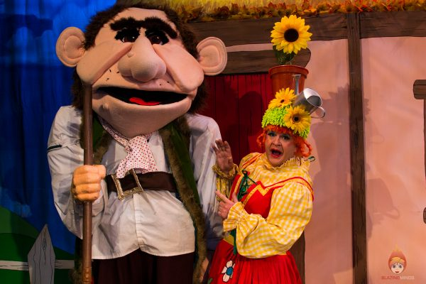 Stuart Loughland as Dame Tilly Trott with Dean Raymond as the Giant - Jack and the Beanstalk, Theatr Colwyn