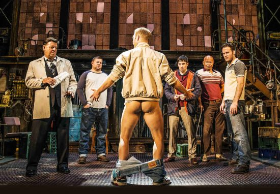 Andrew Dunn, Kai Owen, Chris Fountain. Back Antony Lewis, Louis Emerick, Gary Lucy in The Full Monty (credit Matt Crockett)