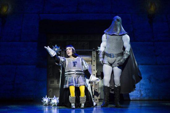 Gerard Carey (Lord Farquaad) and SHREK THE MUSICAL original 2015 UK and Ireland tour company. Credit Helen Maybanks (4)