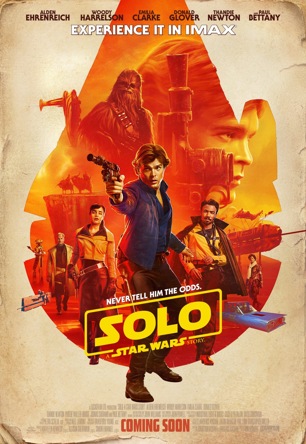 Exciting news for Star Wars fans, as Ron Howard reveals the exclusive SOLO: A Star Wars Story IMAX poster featuring Han Solo at the forefront. The art also includes Solo's mighty crew of Chewbacca, Lando Calrissian, Qi'Ra and more.