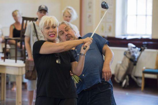 Denise Welch & Ian Stocks in rehearsals for Calendar Girls The Musical credit Matt Crockett