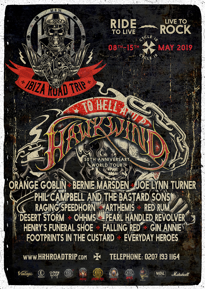 #HRH Roadtrip Celebrates 10 Years with a MASSIVE Line-up, feat. #Hawkwind (50th Anniversary Tour), Orange Goblin, JLT, Bernie Marsden, Phil Campbell and more.