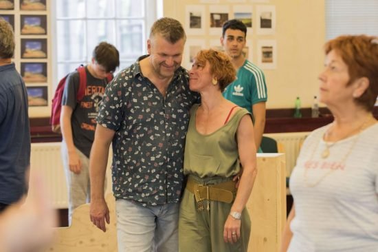 Phil Corbitt & Anna-Jane Casey in rehearsals for Calendar Girls The Musical credit Matt Crockett