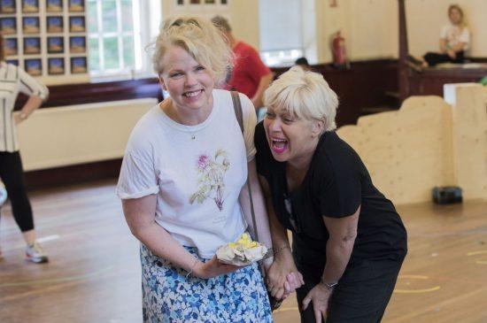 Sara Crowe & Denise Welch in rehearsals for Calendar Girls The Musical credit Matt Crockett