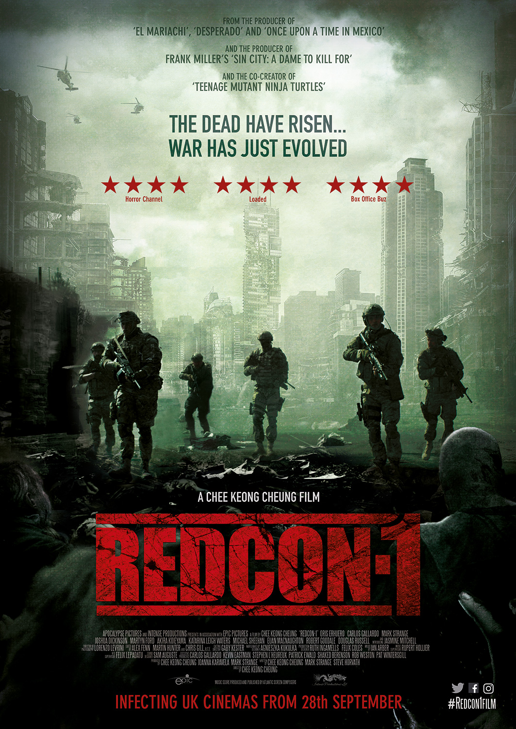 Some great news for you #Zombie fans out there, with the news of the release of the new #trailer, stills and the UK poster for the upcoming British zombie action epic, #Redcon1.